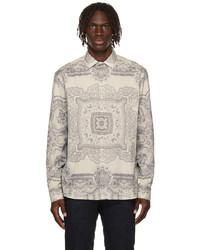 Etro Off White Grey Paisley Scarf Shirt