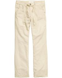 Linen blend pants dark blue ladies medium 448663
