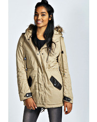 Boohoo Naomi Detachable Faux Fur Trim Hooded Parka