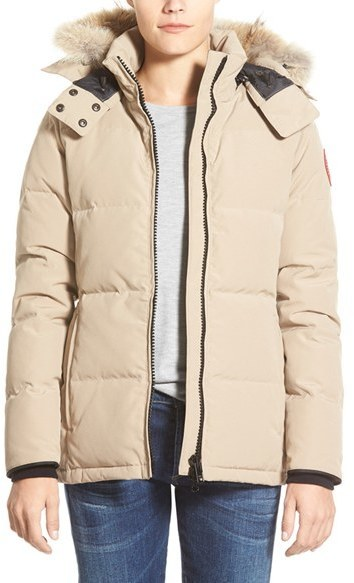 ... Beige Parkas Canada Goose Chelsea Slim Fit Down Parka With Genuine Coyote Fur Trim ...