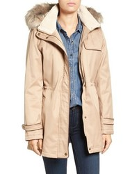 Faux shearling faux fur trim water repellent parka with detachable hood medium 1210832