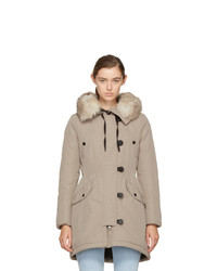 Moncler Taupe Down Arehdel Coat