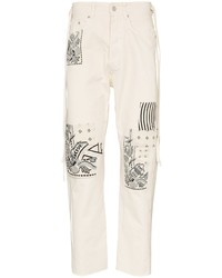 Beige Patchwork Jeans