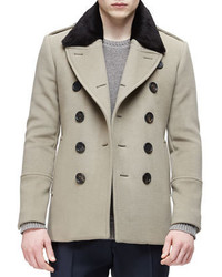 London double breasted pea coat with removable fur collar taupe medium 354530