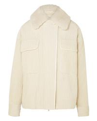 Victoria Victoria Beckham Shearling Trimmed Cotton Corduroy Jacket
