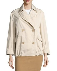 Brunello Cucinelli Taffeta Monili Trim Pea Coat