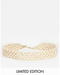 Asos Limited Edition Faux Pearl Lattice Choker Necklace Beige Coffee