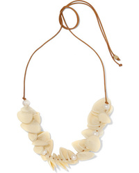 Dinosaur Designs Pipi Leather Resin And Faux Pearl Necklace
