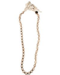 Lanvin Raffia Woven Pearl Necklace