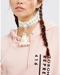 Asos Statet Faux Pearl Choker Necklace
