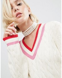 Asos Wah London X Multi Row Pearl Choker Necklace