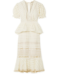 Johanna Ortiz Lovers Bridge Broderie Anglaise Cotton Peplum Midi Dress