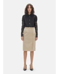 Lutz Huelle Cotton Pencil Skirt Beige