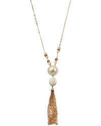 Lydell NYC Long Golden Pearly Tassel Pendant Necklace