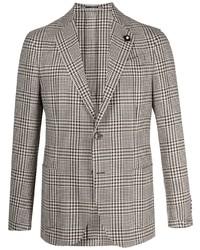 Lardini Plaid Check Pattern Blazer