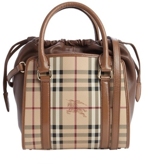 fcec5bc69e53 ... Bags Burberry Camel Leather Nova Check Coated Canvas Drawstring  Convertible Shoulder Bag