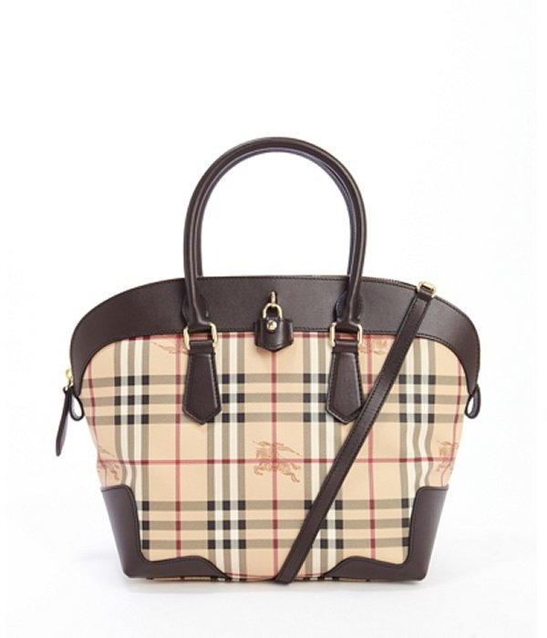 Bags Burberry Chocolate Leather And Coated Canvas Medium Haymarket Primrose Tote