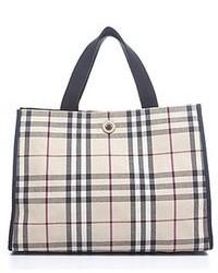 Burberry Pre Owned Nova Check Fabric Medium Tote Bag