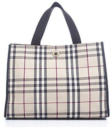 fab4da2e8c04 ... Canvas Tote Bags Burberry Pre Owned Nova Check Fabric Medium Tote Bag