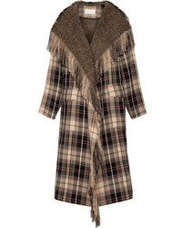 Chloé Fringed Plaid Wool And Cotton Blend Coat Beige