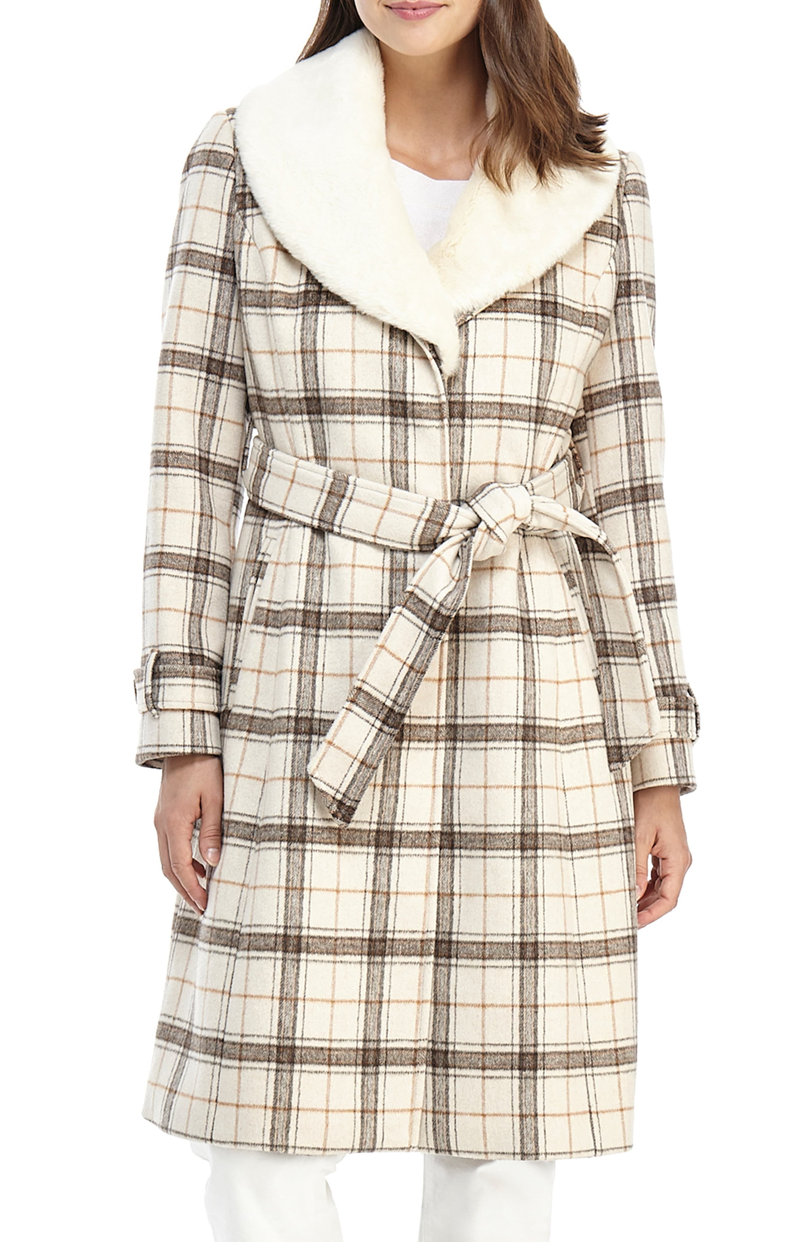 Gal Meets Glam Collection Plaid Wool Blend Coat With Faux
