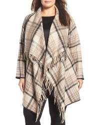 Plus size sage plaid drape front coat medium 1317668