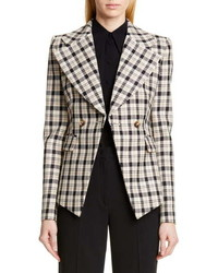 Michael Kors Collection Michl Kors Double Breasted Plaid Blazer