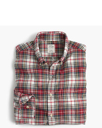 Beige Plaid Dress Shirt