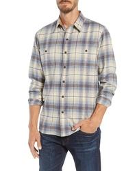 Beige Plaid Flannel Long Sleeve Shirt