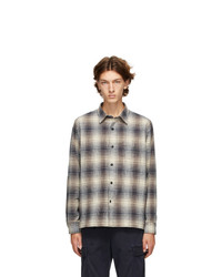 Officine Generale Off White And Navy Check Generale Sol Ombre Shirt