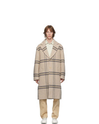 Beige Plaid Overcoat