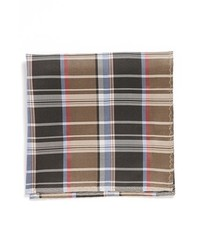 Original Penguin Butler Plaid Silk Pocket Square