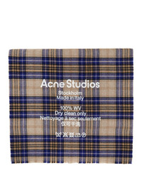 Acne Studios Beige And Blue Cassiar Tartan Scarf