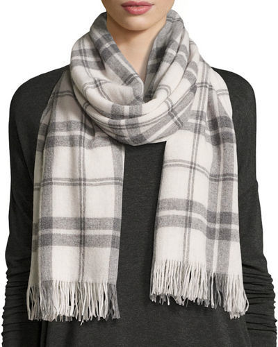 Eileen Fisher Soft Woolcashmere Plaid Scarf