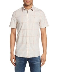 Beige Plaid Short Sleeve Shirt