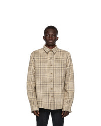 Beige Plaid Wool Long Sleeve Shirt