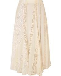 Beige Pleated Chiffon Midi Skirt