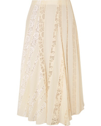 Chloé Ed Silk De Chine Midi Skirt