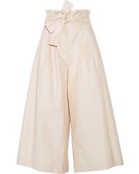 Fendi Pleated Cotton Poplin Culottes Ecru