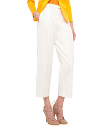 Akris Punto Pleated Front Wide Leg Cropped Pants Cream