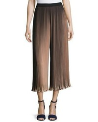 Pleated Two Tone Wide Leg Pants