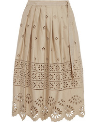 Sea Wrap Effect Broderie Anglaise Cotton Skirt Beige