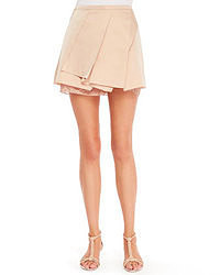 Beige Pleated Mini Skirt
