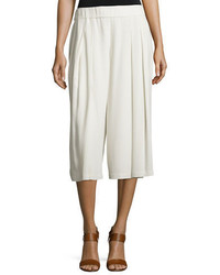 Eileen Fisher Pleated Silk Georgette Cropped Pants