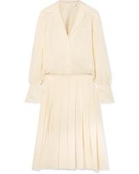 Chloé Pleated Silk De Chine Midi Dress