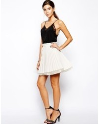 Beige Pleated Silk Mini Skirt