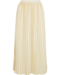 Gucci Metallic Pleated Wool Blend Midi Skirt