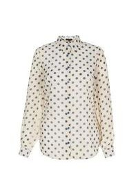 New Look Cream And Blue Polka Dot Long Sleeve Shirt