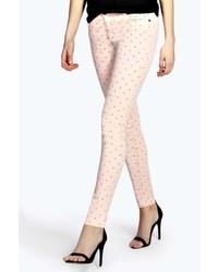 Beige Polka Dot Skinny Jeans