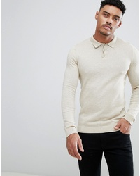 ASOS DESIGN Asos Knitted Muscle Fit Polo In Oatmeal